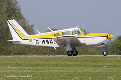 G-WWAL - 1968 build Piper PA-28R-180 Cherokee Arrow, arriving at Sywell during AeroExpo 2012