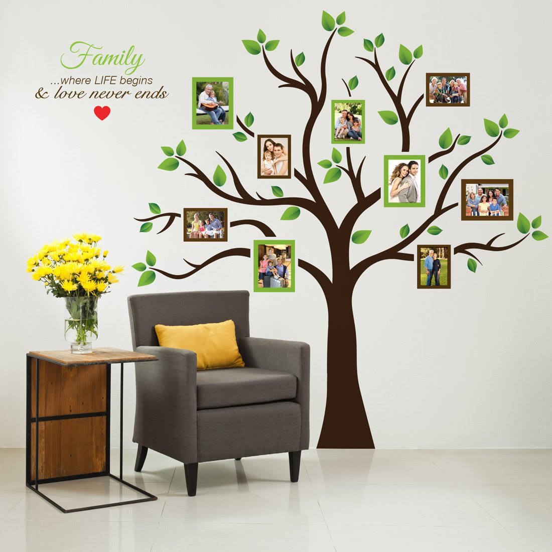 Timber Artbox Large Family Tree Photo Frames Wall Decal Amazon