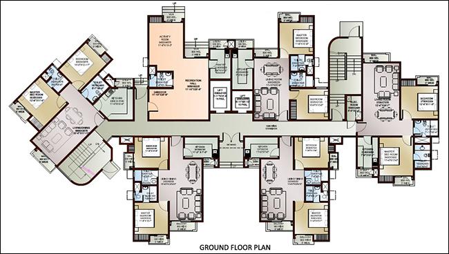 96 FLOOR PLAN HIGH-RISE OFFICE BUILDING, PLAN FLOOR OFFICE
