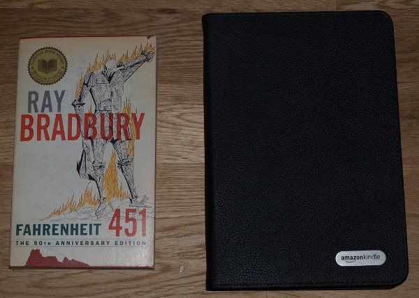photo of leather cover closed and Fahrenheit 451 paperback for comparison