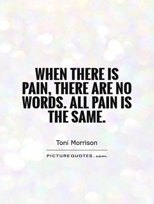 When There Is Pain There Are No Words All Pain Is The Same