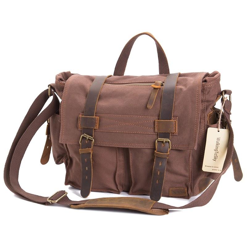 Cheap AUGUR Canvas Bag Travel Notebook Package Shoulder Diagonal Casual Men's Shoulder Handbag Vintage Messenger Bag