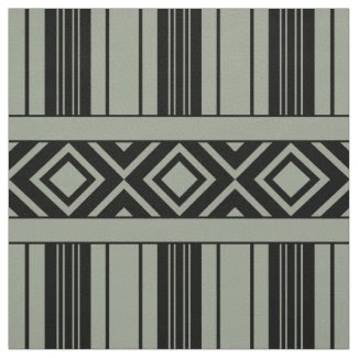 Black Stripes & Diamonds, Custom Color Background Fabric