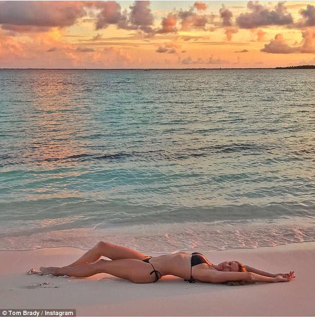 Wow:Tom Brady showed off his wife Gisele's stunning figure in a revealing Instagram post he shared on Saturday