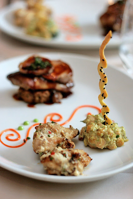 Background - Foie Gras on Quail Breast (Angelo's); Foreground: Mustard chilly tandoori spatchcock (Song of India)