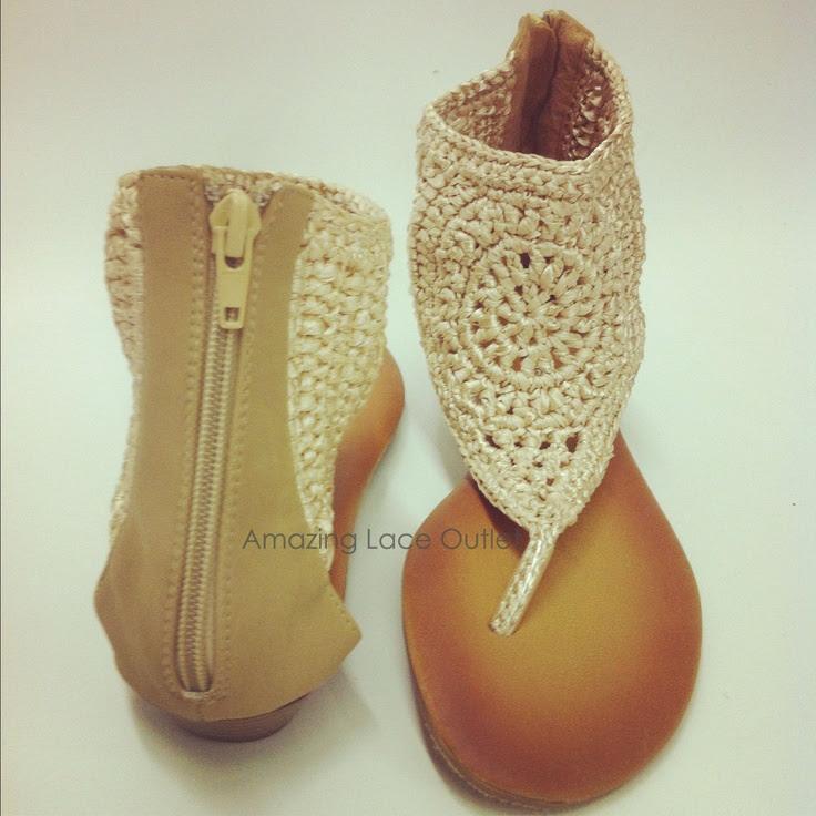 CROCHET ANLE STRAP Sandals Tribal Thong Open Toe Flats Back Zip Gladiator Shoe
