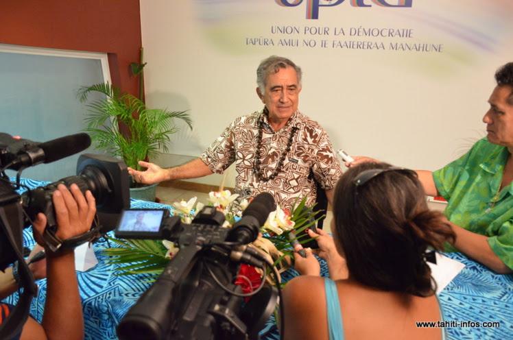 Oscar Temaru, vendredi 11 septembre lors de la conférence de presse donnée par l'UPLD.