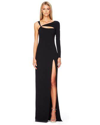 ZOOM   Michael Kors Cutout Single Sleeve Gown Black crepe