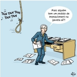 Charge de Que Mário? ironiza o fato de Eduardo Cunha ter liberado ofícios de impeachment após romper com o governo