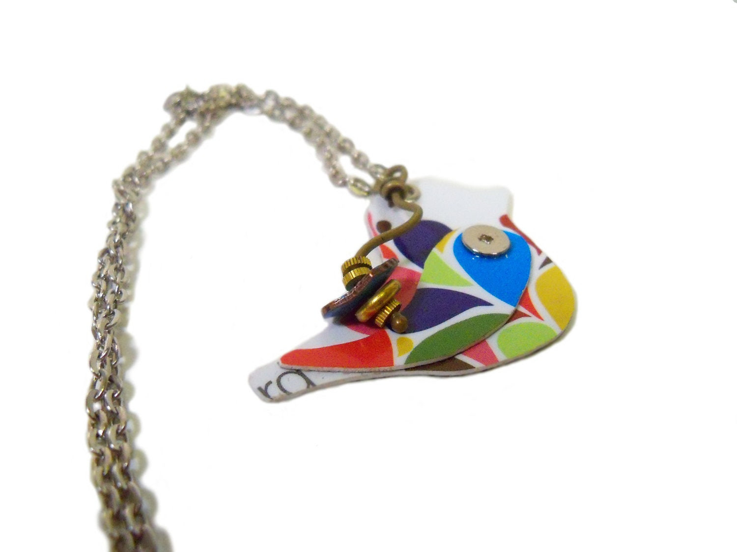 Gift Card Retro Bird Necklace, Recycled Jewelry, Upcycled Eco Friendly - ThePlatform