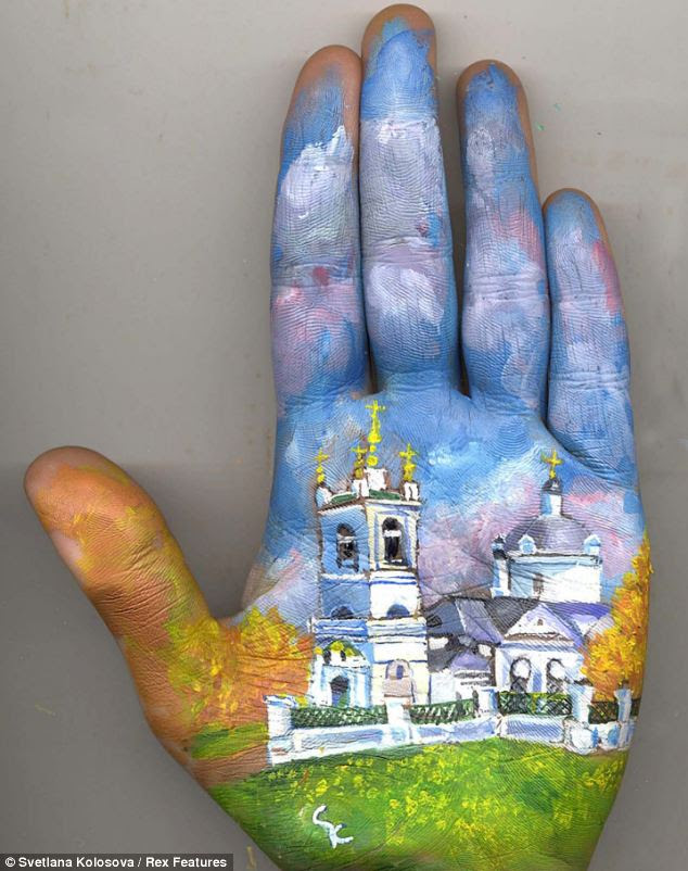 Exquisite: Svetlana manages to capture amazing detail in her hand sized paintings