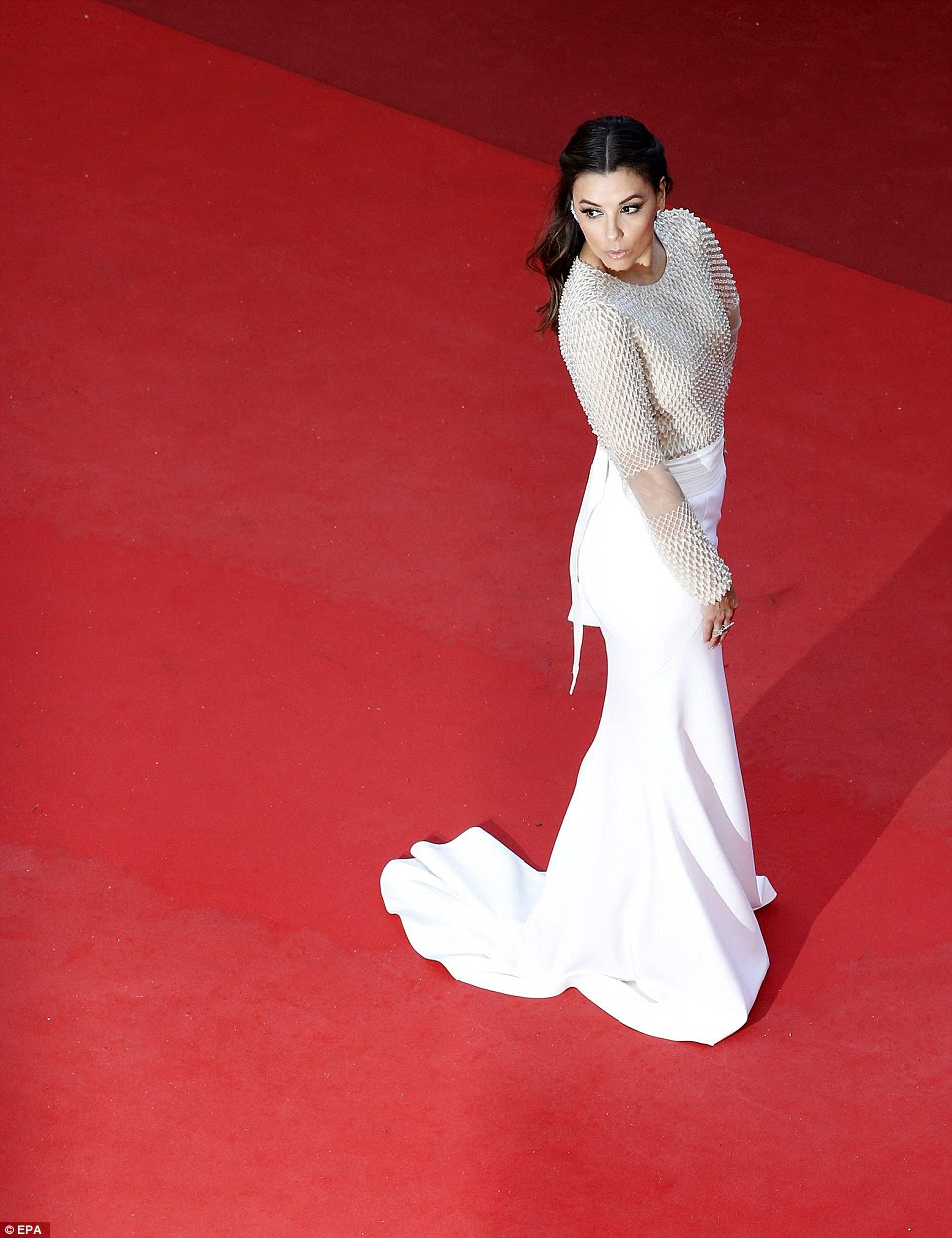 What a view: Eva looked simply stunning from every single angle on the vast red carpet