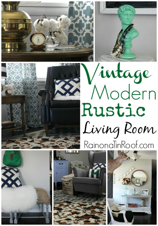 Vintage Modern Rustic Living Room via RainonaTinRoof.com #vintage #modern #rustic #decor