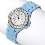 SCOOP Mother-of-Pearl Pave Bezel 7 in. Bracelet Watch