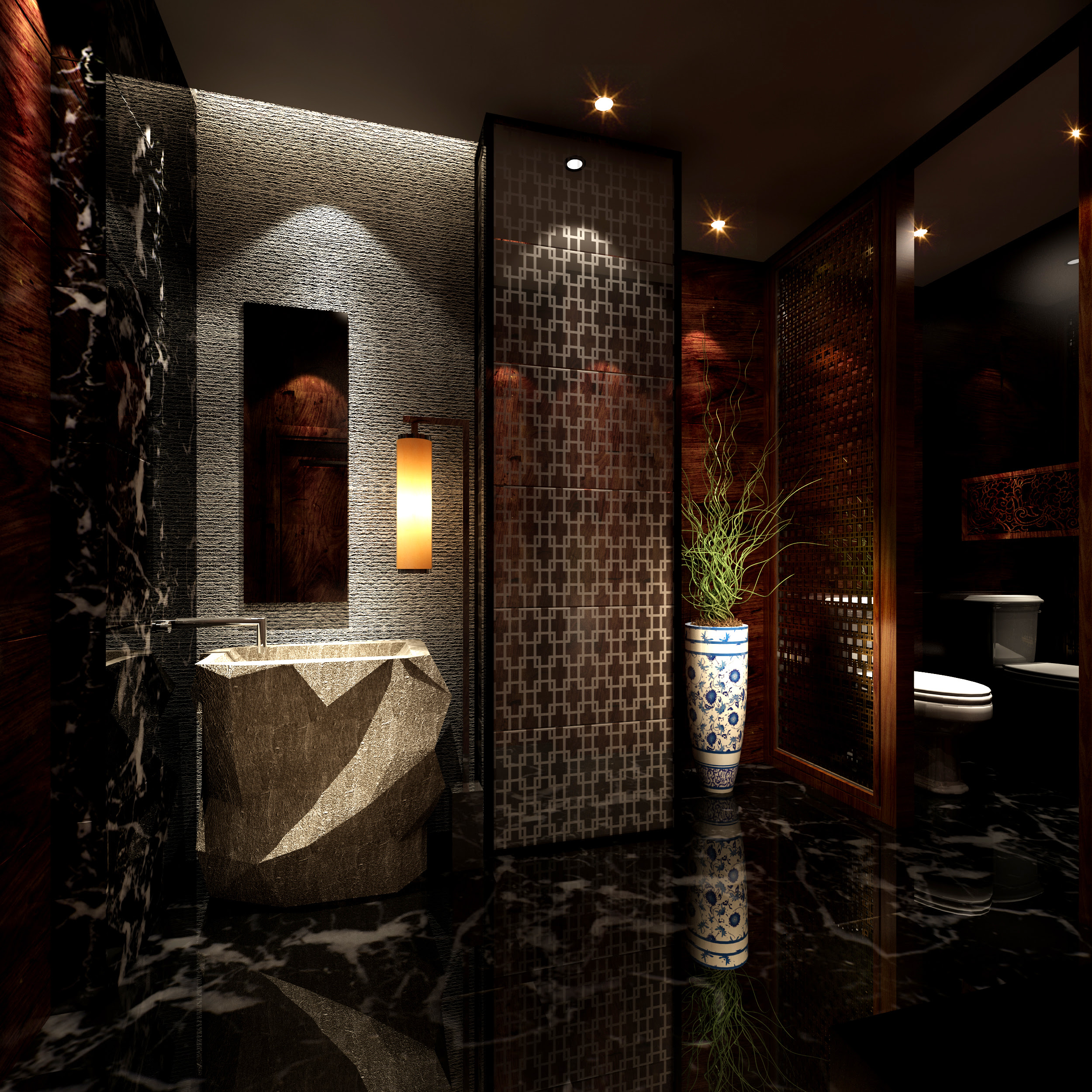 Dark Luxurious Bathroom With Marble Floor 3D Model .max ...