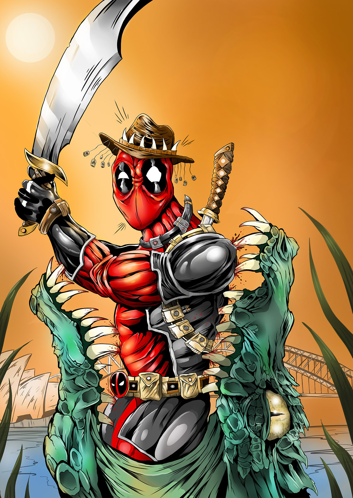 Crocodile Dundee x Deadpool by Blake Cantrell
