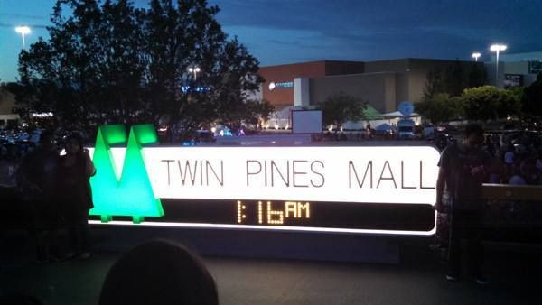 The Twin Pines Mall sign from BACK TO THE FUTURE on display at Puente Hills Mall in the City of Industry...on October 25, 2015.