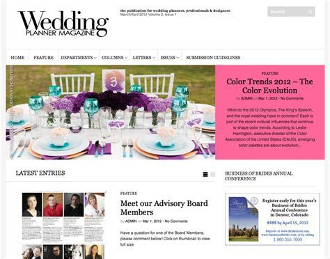 In Living Color  Published in Wedding Planner Magazine