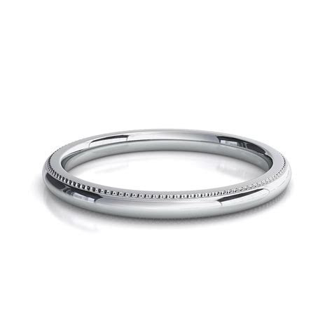 2mm Comfort Silk Fit Milgrain Wedding Band Ring Genuine