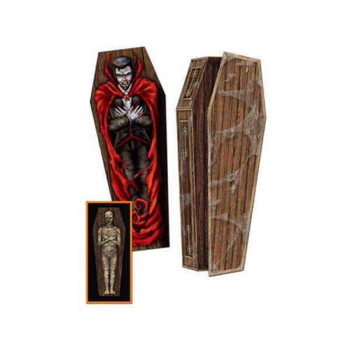 3-D Coffin Vampire & Mummy Inside Halloween Prop Creepy Goth Decoration Undead