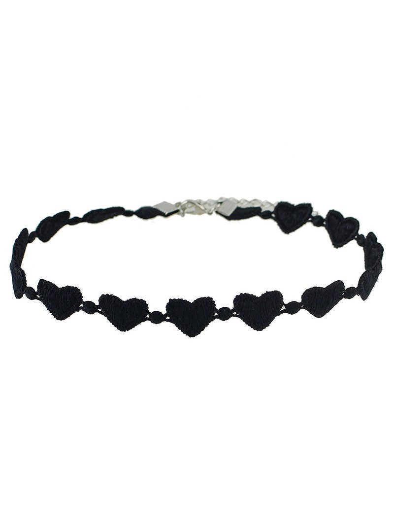 Lace Peach Heart Choker - BLACK