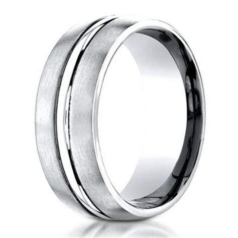 Benchmark Cobalt Chrome Men's Wedding Ring, Polished Ridge