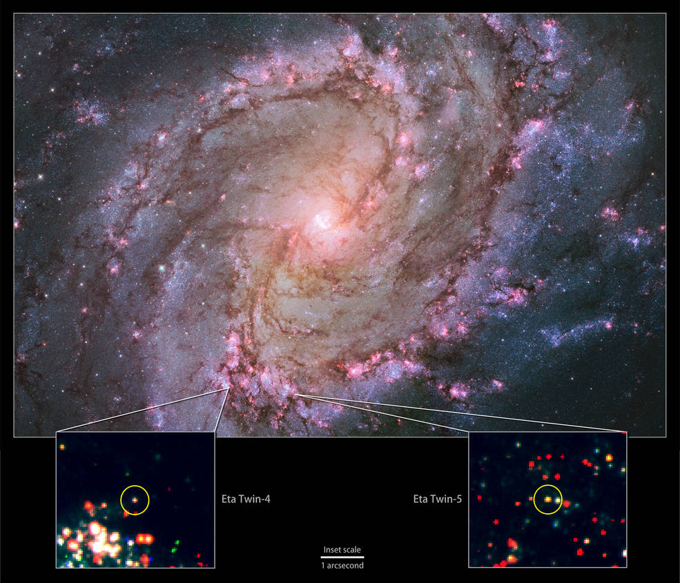 Composite of images from Hubble shows a galaxy ablaze with newly formed stars