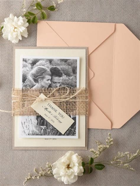 Personalised Wedding Thank You Card Set Of 20, Burlap
