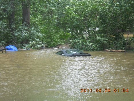Hurricane Irene - Submerged car in Bergen County, New Jersey. (Photo courtesy of Scarlet Henderson.)