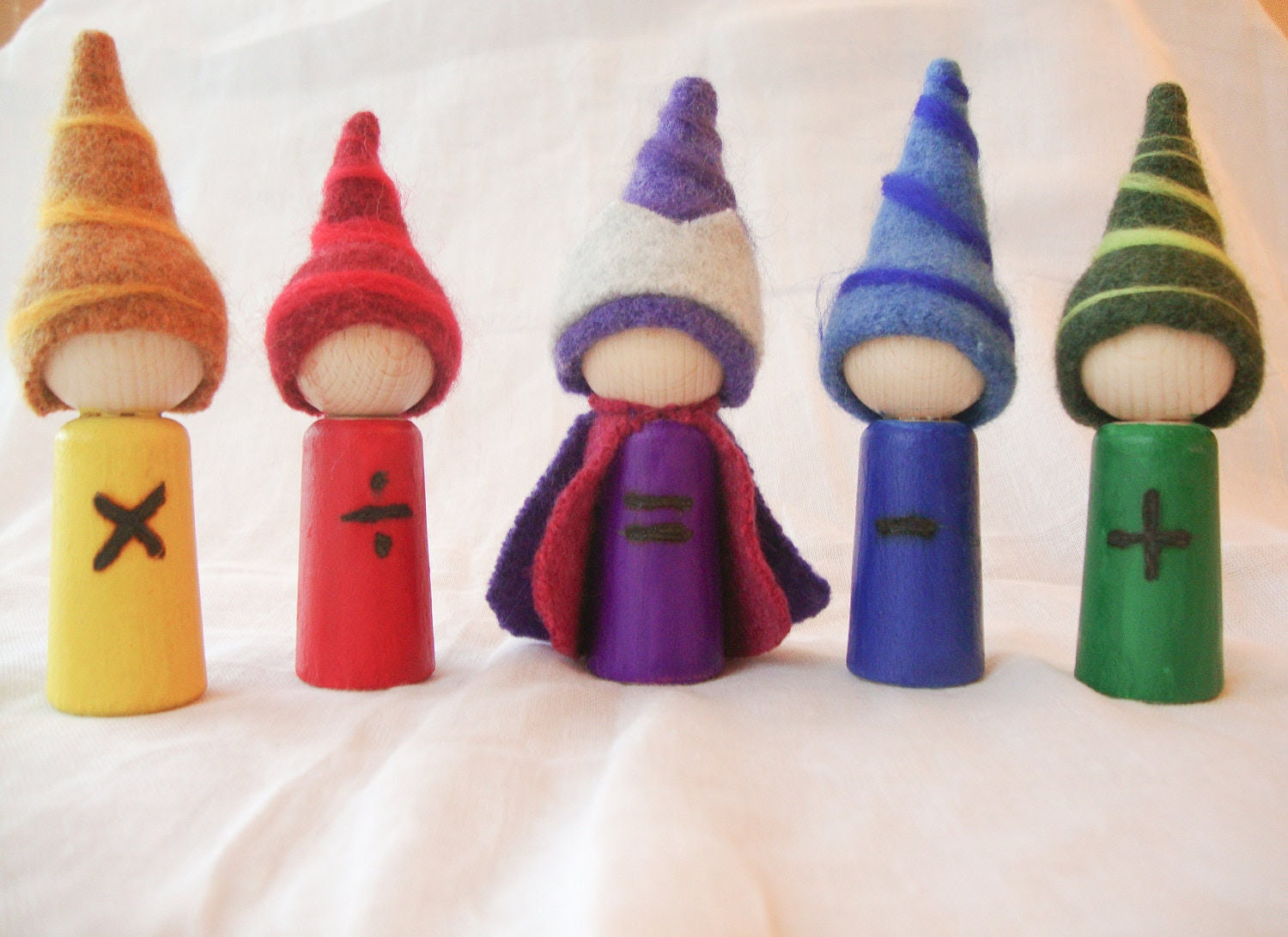 Waldorf Math Gnomes, Educational Toy, Math, ,Home schooling, Waldorf School, finger puppet