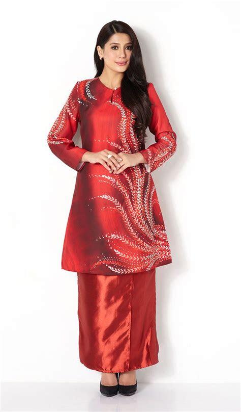 lady fern print modern baju kurung kebaya baju