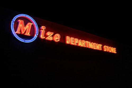 mize department store neon light