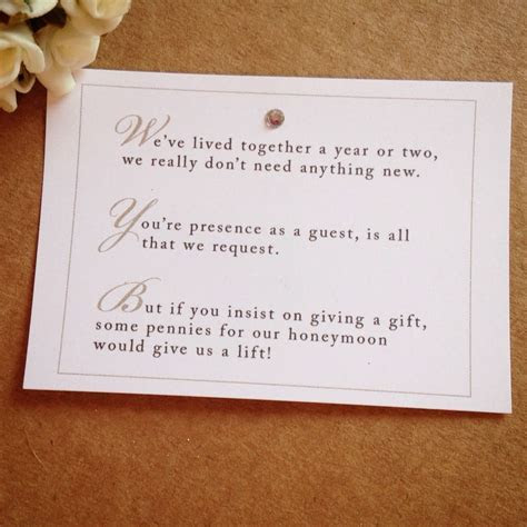 5 x Wedding Poem Cards For Invitations   Money Cash Gift