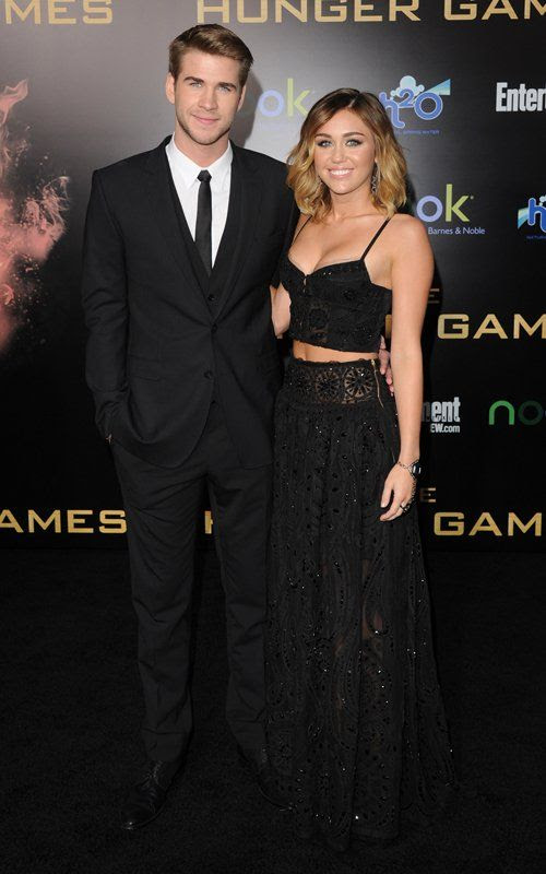 The Hunger Games - LA Premiere - March 12, 2012, Miley Cyrus, Liam Hemsworth