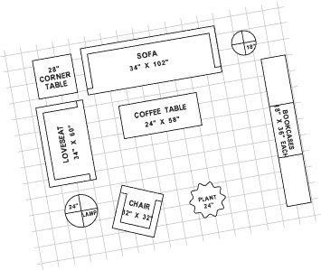 """Furniture Template 1/4 : Template Furniture 1/4"""" Scale - Du-All Art & Drafting Supply / 3 kits for your design needs."""