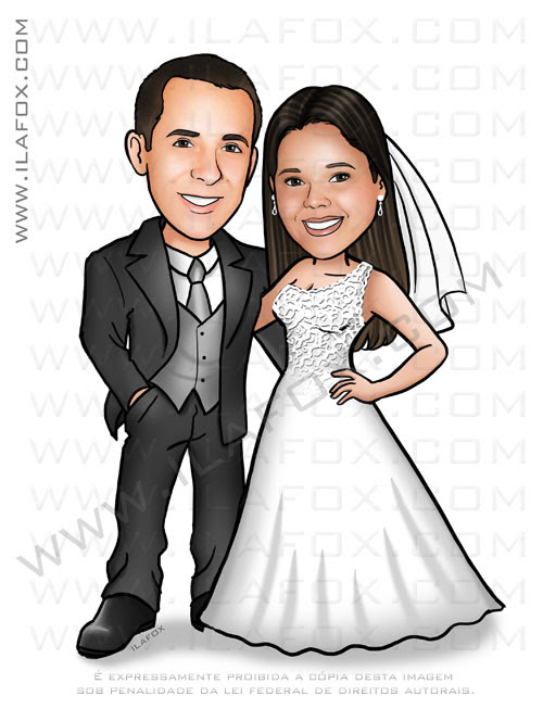 caricatura casal caricatura noivinhos, caricatura para casamento, caricatura bonita, by ila fox