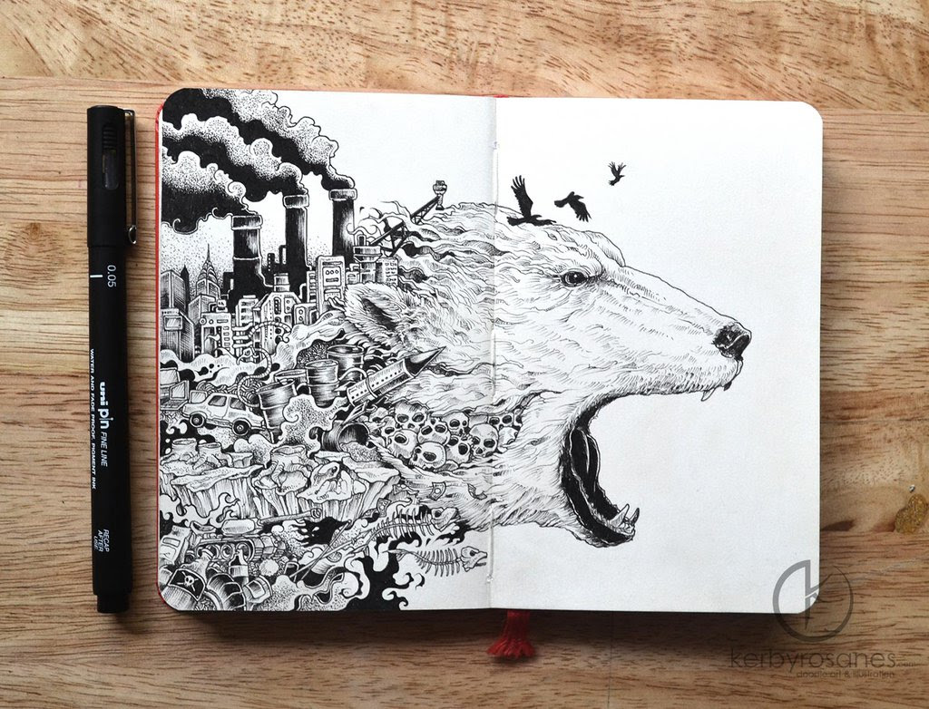 Explosive Moleskine Doodles by Kerby Rosanes multiples animals