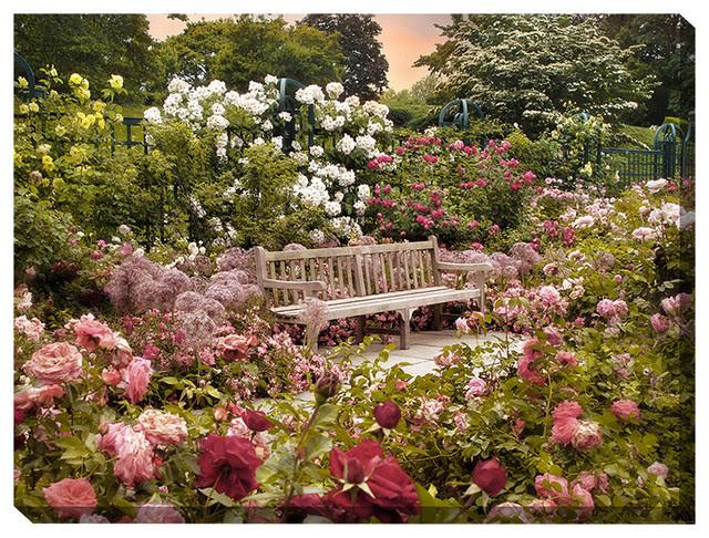 """""""Rose Garden Sunset"""" Outdoor Art - Modern - Outdoor Wall ..."""
