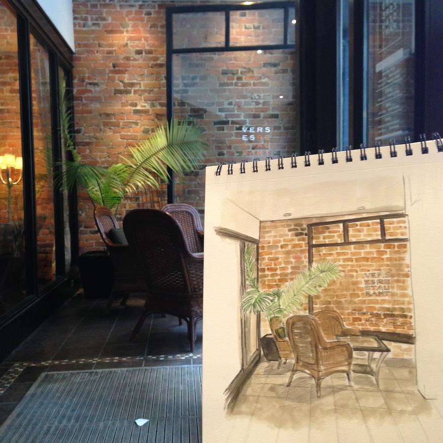 Montreal Hotel Nelligan Verse Restaurant Urban Sketching