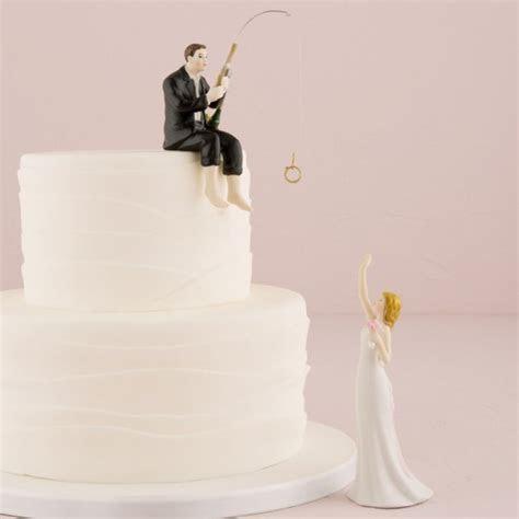 'Hooked on Love' Fishing Groom Wedding Cake Topper