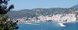 Sporades, Skopelos, View of Skopelos from Delfi