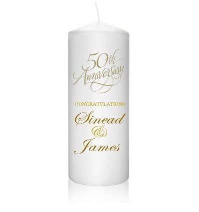 50th Anniversary Candle Personalised   Caz Cards Leitrim