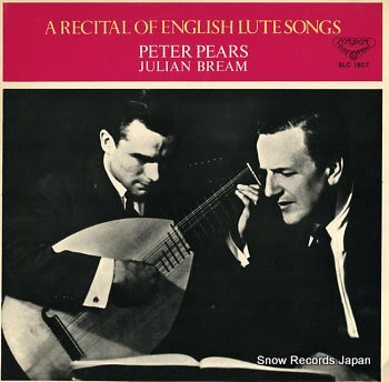 PEARS, PETER recital of english lute songs, a