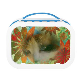 snowshoe sixties flower child kitty yubo lunchbox