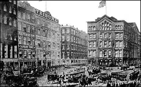 Edifício New York Tribune em Printing House Square, New York (1865)