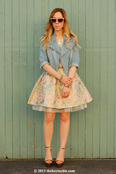 Brocade-boohoo-boutique-dress-moto-blue-asphalt-jacket-metallic-qupid-heels