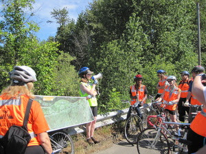 Discussing the Slough by bicycle