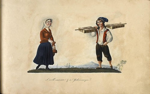 gouache sketches of 2 Portuguese people from 19th century