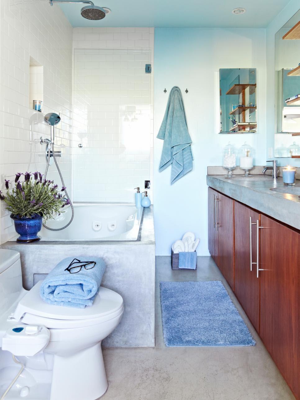 Cool Blue, Spa-Like Bathroom | HGTV