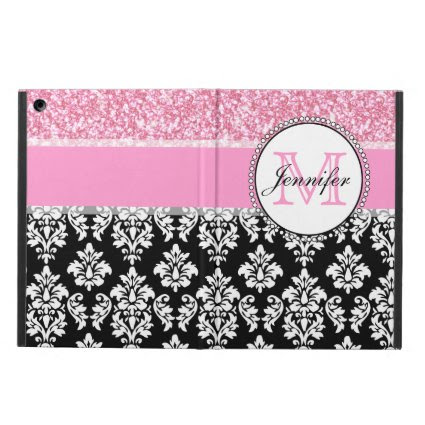 Girly, Pink, Glitter Black Damask Personalized Case For iPad Air